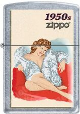 Zippo Windy Vintage Nose Art Fur Coat Pinup 1950 Era Satin Chrome Lighter NEW