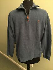 Men's POLO by RALPH LAUREN Size M French Rib Half Zip LS Pullover Heather  Blue
