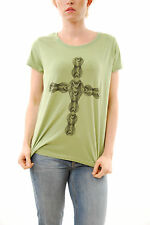 Eleven Paris Women`s Poison Kobra T-Shirt Apple Green Size S Short Sleeve BCF59