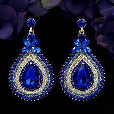 18K Gold Plated GP Blue Crystal Rhinestone Drop Chandelier Dangle Earrings 06060