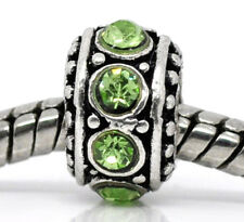 August Birthstone Green Rhinestone Spacer Ring Bead for European Charm Bracelet