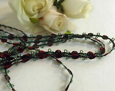 Red /Black /Green Rose Braid Lace Trim 5 mm #2RD288B 1 metre