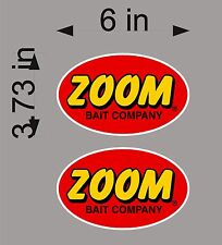 "ZOOM Fishing / 6"" Logo PAIR / vehicle / watercraft / trailer decals / stickers"