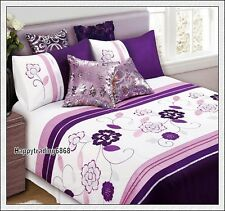 Dark Purple Pink White Flora Pintuck 3pc KING QUILT DOONA COVER SET *280TC Brand