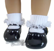 "Black Patent Dress Shoes & Lace Trim Socks for 18"" American Girl Doll Clothes"