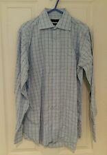 "Pale Blue Check Butler & Webb Easy Care Cotton – Size 15"" - Excellent Condition"