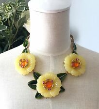 Oscar De La Renta Yellow Flowers Necklace