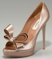 NIB VALENTINO Couture Bow Platform Pump Shoe Light Brown Metallic Dark Nude S 35