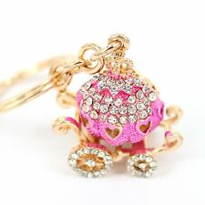 Pumpkin Carriage Rhinestone Cute Crystal Pendent Charm Purse Bag Key Chain Gift