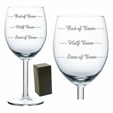Personalised Engraved Wine Glass Start-Half-End of Term Levels Teacher Gift