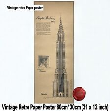 Large Vintage Wall Retro Bar Paper Poster Chrysler Building Blueprint Design