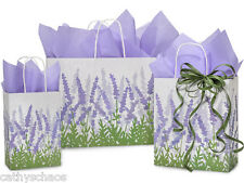 Bulk 125 Recycled Kraft Paper Gift Bags Soft Lavender Fields & 480 Tissue Sheets