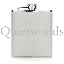 White Glitter Bling Stainless Steel Hip Drinking Liquor Flask 7oz