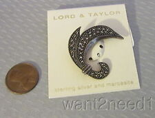 Lord & Taylor STERLING SILVER & MARCASITE PIN swirl brooch 925 new on card