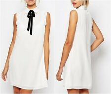 Fashion Union Sleeveless Shirt Dress with Tie Neck White UK 10 US 6 EU38 (CA905)
