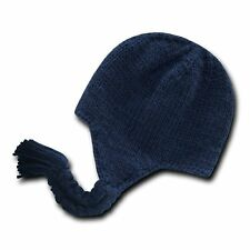 Solid Navy Blue Peruvian Beanie Cap Hat Winter Braided Ear Flap Chullo Warm Hats