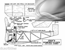 Model Airplane Full Size Printed Plans Peanut Scale 1920'S Pwr Glider & article