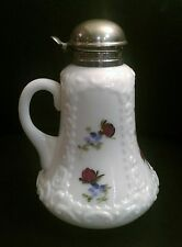 Vintage Hand Painted Milk Glass Syrup Pitcher
