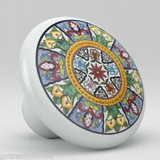 Round Talavera Design Ceramic Knobs Pulls Kitchen Drawer Cabinet Dresser 1212