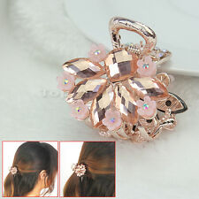 Hair Clip  Pink Flower Crystal Glass  Hairpin Clamp Claw For Women Lady to0e