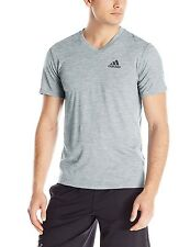 NEW ADIDAS ULTIMATE 2.0 SHORT SLEEVE MEN'S T-SHIRT V NECK GREY TEE SZ/ XL