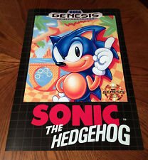 "Sonic the Hedgehog Sega Genesis box case art retro video game 24"" poster print"