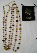 """Joan Rivers 96"""" Bead Necklace Brown Lime Green Natural Gold Glass Wood XL Long"""