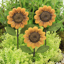 Sunflower Flower Pick ~ Fairy Garden Miniature ~  Miniature Garden ~ Set of 3