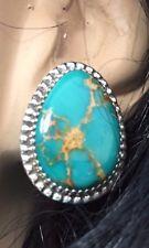 Sterling Silver Kingman turquoise matrixed earrings Avin Joe Navajo post signed
