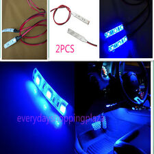 2pcs 3-SMD Ultra Blue LED Strip Lights For CAR Cup Holder Glove Box Foot Area