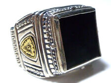 KONSTANTINO STERLING SILVER 18K GOLD ONYX FLOWER SHIELD MENS WOMENS HEAVY RING