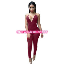 Women Sexy Deep V-Neck Sleeveless Spghetti Strap Halter Cross Jumpsuit Playsuit