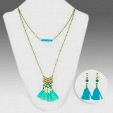 Mint Turquoise Tassles Beads Native Necklace Set Gold Cable Chain