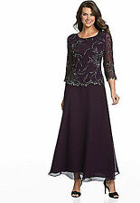 NWT New J KARA Embellished Chiffon Gown Dress 3/4 Sleeve Plum Wine Purple 12