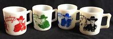 Set of 4 Vintage 1950s Hopalong Cassidy Cups Hazel Atlas Milk Glass Coffee Mugs