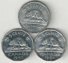 3 OLDER 5 CENT COINS w/ BEAVERS from CANADA (1952, 1953 & 1954)