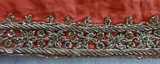VINTAGE RIBBON TRIM LACE PERSIAN BEAD WORK ZARDOZI BULLION EMBROIDERY PEACH#ZR75