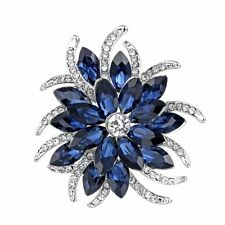 Silver Blue Sapphire Huge Flower Bouquet Brooches Pin Wedding Bridesmaid Jewelry