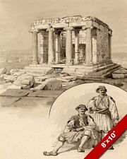 ANCIENT TEMPLE OF NIKE GREEK RUINS GREECE INK PAINTING ART REAL CANVAS PRINT