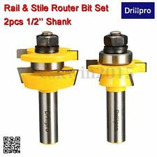 2Pcs Woodworking Chisel 12249 Rail & Stile Router Bit Set Shaker 1/2'' Shank Cut