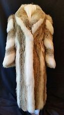Full Length White Fox And Coyote Fur Coat Designer Full Skins Canada Sz 10-12 M