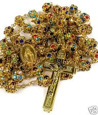 Colorful Zircon Beads Golden Rosary Catholic Necklace Miraculous Medal Cross