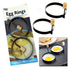 2 NON STICK PERFECT CIRCLE FRIED POACH EGG RINGS MOULD FRYING FOLDING HANDLES