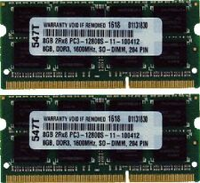 16GB (2X8GB) DDR3 MEMORY  PC3-12800 1600MHz 204PIN SO DIMM