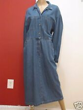 LANDS END BLUE JEAN LONG MODEST PULLOVER COTTON 5 PCKT DENIM DRESS SZ 16