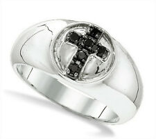 Men's .925 Sterling Silver Ring with Black Diamond Cross Accent .23ct -Wide Band