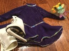 American Girl  Purple Sparkley Ice Skating Outfit With Skates & Guards RETIRED