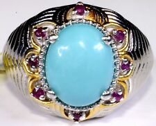 Arizona Sleeping Beauty Turquoise, Ruby Ring Sterling Silver (Size 9) 3.82 Cts