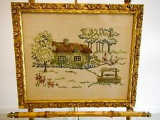 """Vintage Country House Needlepoint Picture in Ornate Gold Wood Frame 17"""" x 19"""""""