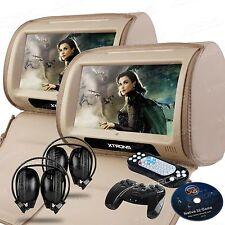 "2X Beige 9"" Digital Touch Screen Car Headrest Monitor DVD Player USB IR/FM Games"